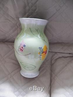 Disney Store Winnie L'ourson Piglet Eeyore Vase À La Feuille Verte Peint À La Main Gorgeous