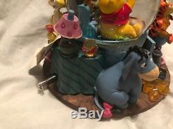 Disney Winnie L'ourson Honey Pot Tigrou Bourriquet Musical Snow Globe Nice Rare