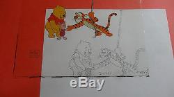 Disney Winnie The Pooh Tigger Production Originale Cel & Drawing Art Animation