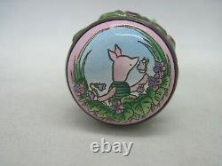 Émail Rare Halcyon Days Disney Winnie L'ourson Porcinet Bonbonnière Figure En Boîte