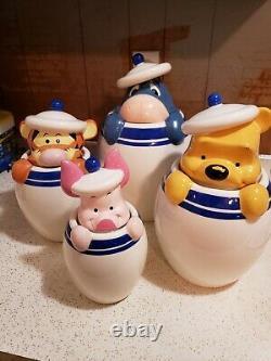 Ensemble De 4 Disney Direct Winnie Pooh Piglet Tigger Eeyore Peak Cookie Jar Bidon
