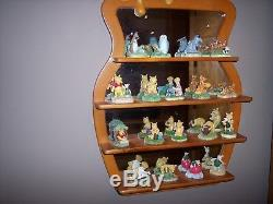Euc Disney Lenox Winnie L'ourson 18 Pièce Thimble Collection Withmirror Étagère