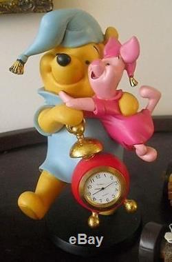 Extrêmement Rare! Walt Disney Winnie L'ourson Avec Horloge De Porcelet Figurine Statue