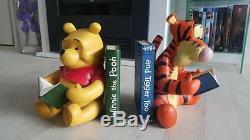 Extrêmement Rare! Walt Disney Winnie L'ourson Avec Tigger Bookends Ensemble Statue De Figurine