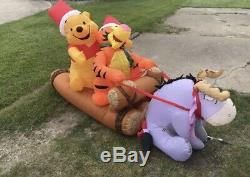 Gemmy Noël Gonflable Airblown 8 Disney Winnie L'ourson Connexion Scène Sled