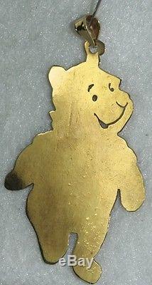 Grand Pendentif En Or 14 Carats Winnie The Pooh Des Années 1980