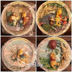 Lot De 10 Assiettes Murales 3d Winnie L'ourson Et Amis Bradford Exchange Disney Set