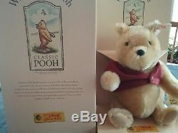 Mint New Steiff Winnie L'ourson 651489 9 Mohair Pooh Avec Red Jacket 1999