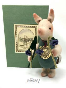 R. John Wright Piglet Aux Violets 7 Feutre De Laine Mohair Disney Winnie L'ourson