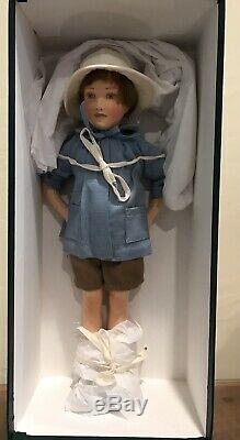 R John Wright Winnie L'ourson Christopher Robin Felt Doll Le Dans La Boîte Avec Coa