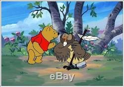 Rare Disney Master Key Animation Cel / Bkgd. Paint-winnie The Pooh & Owl Coa
