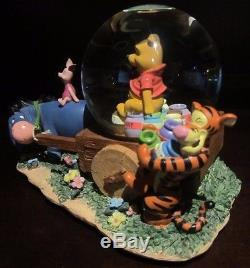 Rare Disney Winnie L'ourson Porcinet Tigrou Bourriquet Brouette Snowglobe Boîte À Musique