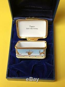 Rare Halcyon Days Disney Winnie L'ourson Avec Une Boîte Émaillée De Bibelots Tigrou Mint