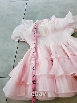 Rare Vintage Winnie The Pooh Sheer Pink Ruffle Full Skirt Dress Taille 3t
