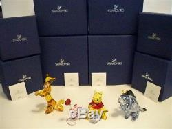 Swarovski Disney 4 Pc Winnie L'ourson Color Set Winnie L'oreille Bourriquet Tigrou Bnib