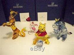 Swarovski Disney 4 Pc Winnie L'ourson Color Set Winnie L'oreille De Tigger Porcinet Bnib