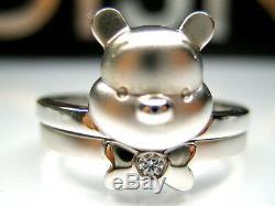 Sz 8 Ou 9 Auth Disney Winnie L'ourson Ours 2-pc Sterling Platinum Ring