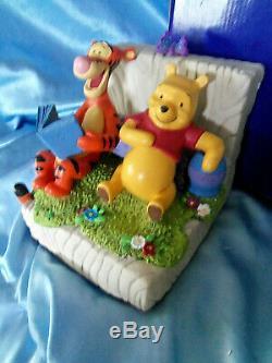 Très Rare! Nouveau! Walt Disney Winnie L'ourson Avec Set Tigrou Bookends Statue