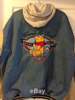 Veste Boutonnée En Jean Unisexe Vintage Winnie L'ourson Disney Des Années 90 - Capuchon Amovible