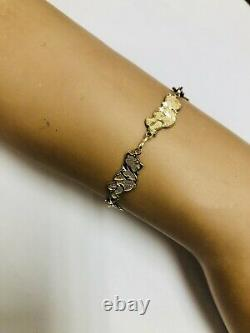 Vintage 10k Solid Yellow Gold Winnie The Pooh Bracelet (6 Pouces)