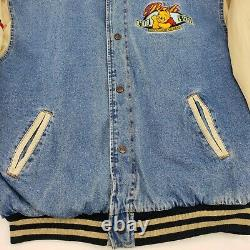 Vintage 90s Disney Winnie Le Pooh Brodé Khaki Denim Varsity Veste Grande