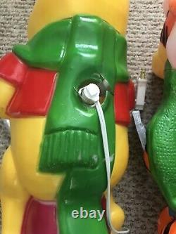 Vintage Disney Santas Best Tigger Caroling Blow Mold Winnie L'ourson Lot De 2
