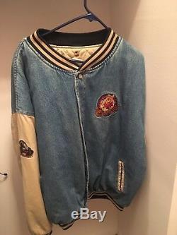 Vintage Disney Store Rare Winnie L'ourson Varsity Denim Jacket Taille Hommes XXL