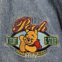 Vintage Disney Store Winnie L'ourson Varsity Jacket Bomber Denim No Hood Small