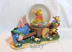 Vintage Disney Winnie Le Pooh Eeyore Wagon Musique Snow Globe Menthe Ultra-rare