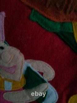 Vintage Disney Winnie The Pooh Felt Christmas Stocking Applique 3d 22 Grande