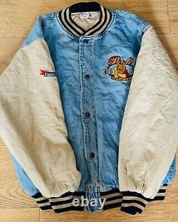 Vintage Disney Winnie The Pooh Varsity Denim Jacket Brodé