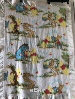 Vintage Winnie L'ourson Couverture Ours Beacon Bordure En Satin Bourriquet Lapin Porcinet