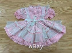 Vtg Winnie L'ourson À Damiers Sheer Lace Full Circle Party Dress Ruffle Bell 3t