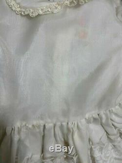 Vtg Winnie L'ourson Parti De Sheer Dentelle Blanche Full Circle Ruffle Communion Dress 4