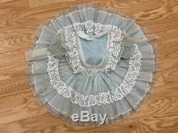 Vtg Winnie L'ourson Sheer Dentelle À Pois Full Circle Party Dress Ruffle Bell 5