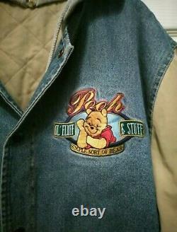 Vtg Winnie The Pooh Disney Store Denim Quilted Varsity Jean Veste Hotte XL 2x 1x