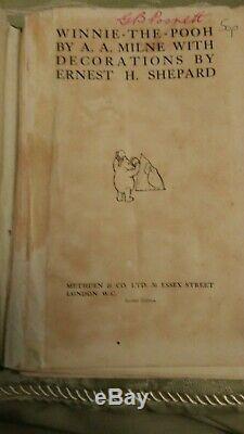 Winnie L'ourson Première Édition Second Imprimer 1926 Livre. A. A. Milne. Très Bon. Dj