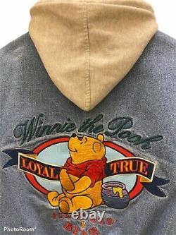 Winnie Le Pooh Vtg Disney Denim Veste Varsity À Capuche, Petite Petite, Orée Une Fois