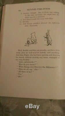 Winnie The Pooh Première Édition Second Print 1926 Book. A. A. Milne. Très Bon